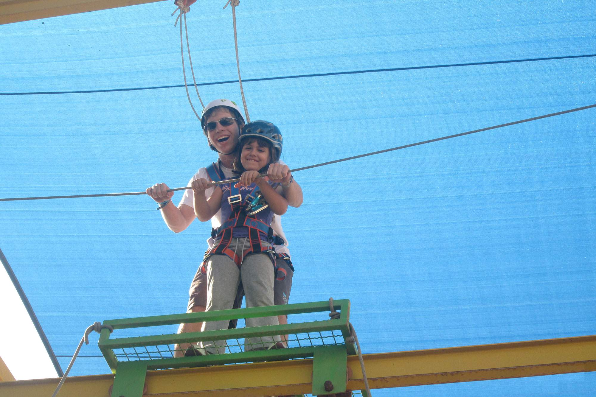 Mom and Child on Adventure Tower at Jordan River Village